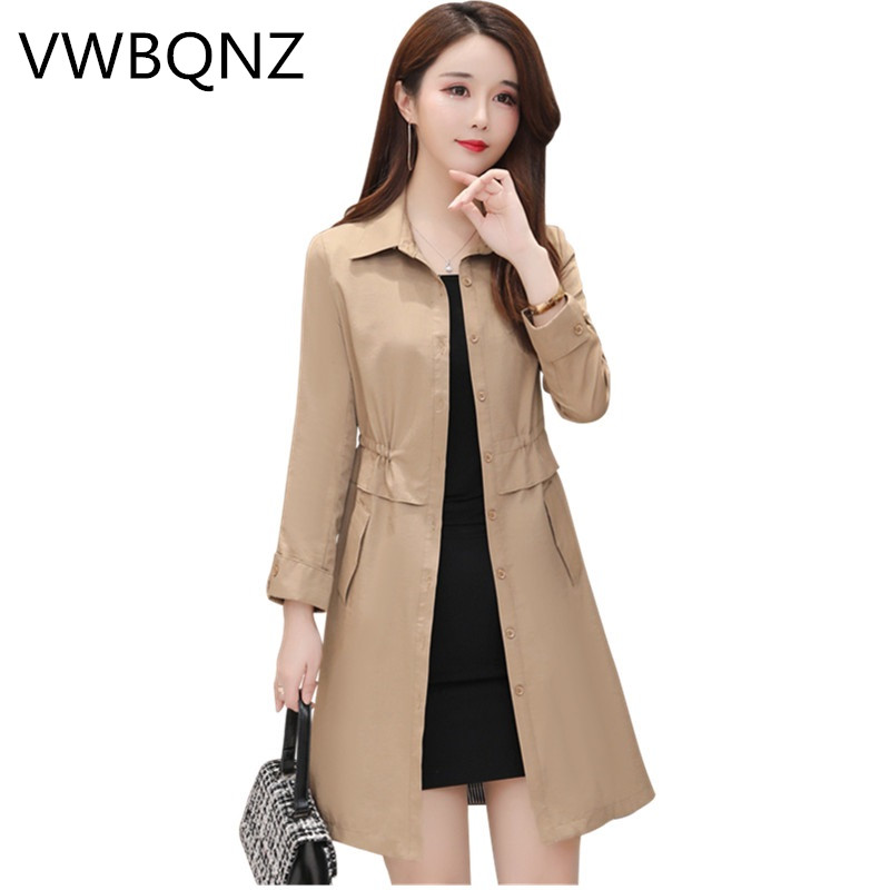High-end Fashion Brand Women   Trench   Coat Slim Elegant Ladies Long Coats large size Spring Autumn Windbreaker Casual Tops L-5XL