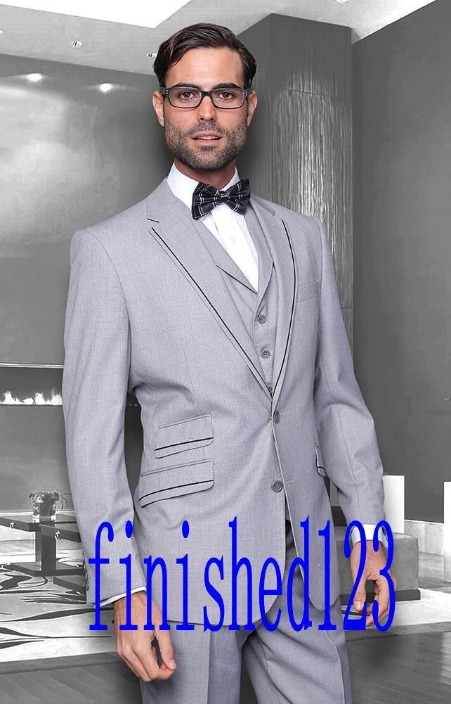 New Arrival Two Button Light Gray Groom Tuxedos Groomsmen Men's Wedding Prom Suits Custom Made (Jacket+Pants+Vest+Tie) K:410