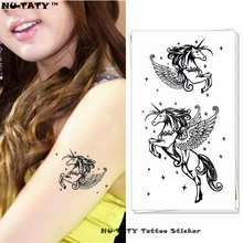 Nu-TATY Azure Pegasus Horse Temporary Tattoo Body Art Arm Flash Tattoo Stickers 17x10cm Waterproof Fake Henna Painless Tattoo