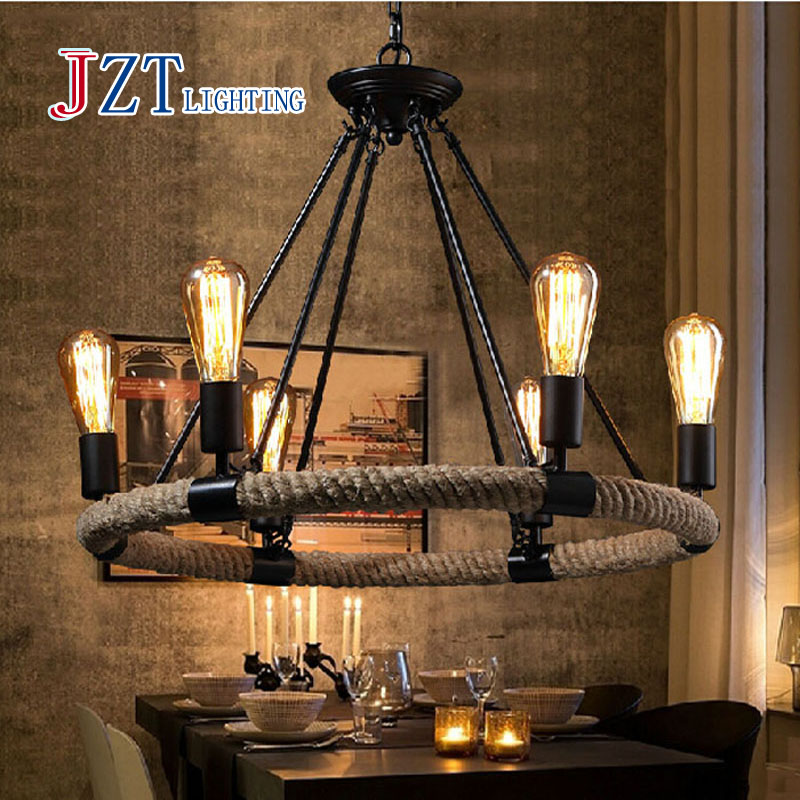 Vintage American Country Rope LED Lamp Vintage Iron Hemp Rope Light Retro Cafe Restaurant Bar Light E27 LED Pendant Lamp american countrial chandeliers cafe pendant lamp round retro restaurant bar metal lamps wrought iron hemp rope pendant lamp