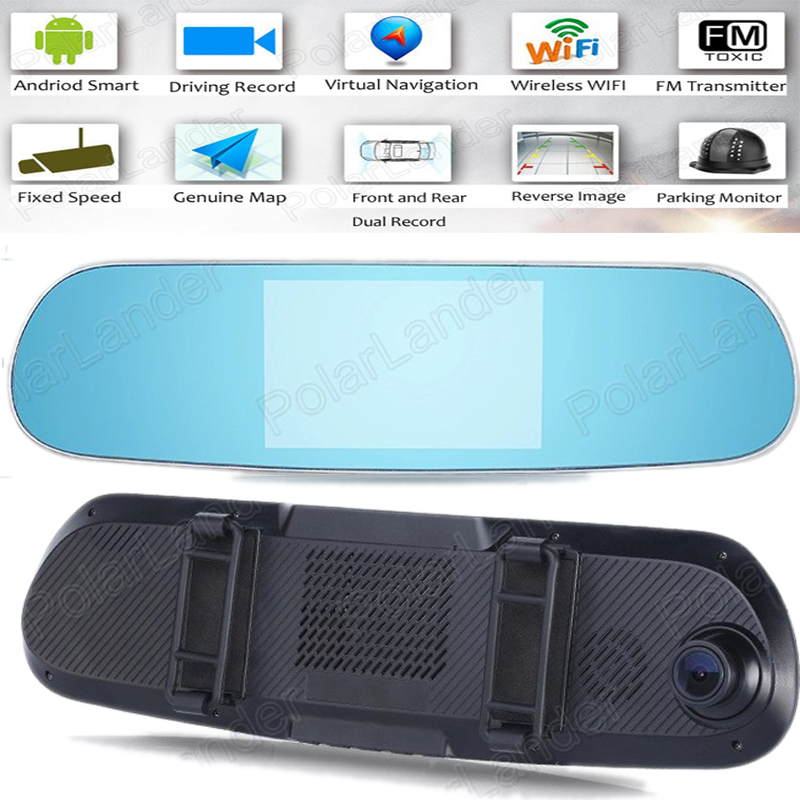 Voiture Numérique Vidéo Registrator 5 pouce double-lentille miroir Adroid GPS WIFI 1080 P Voiture Caméra Rétroviseur De Voiture DVR