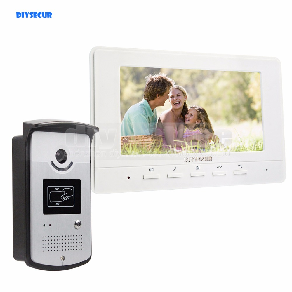 DIYSECUR 7 inch Wired Video Door Phone Doorbell Home Security Intercom System RFID Camera LED Night Vision White diysecur 9inch video record photograph video door phone doorbell waterproof hd rfid camera home security intercom system 1v4