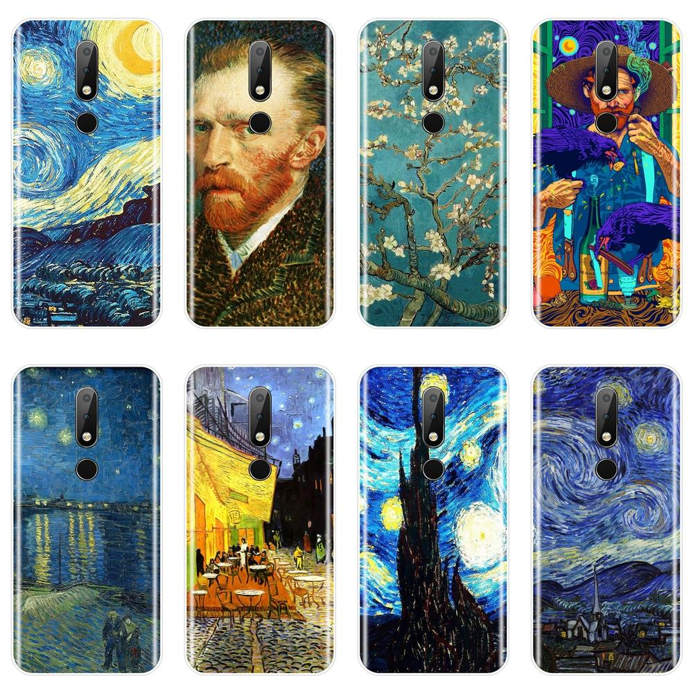 Back <font><b>Cover</b></font> For <font><b>Nokia</b></font> 7.1 <font><b>6.1</b></font> 5.1 3.1 2.1 <font><b>Plus</b></font> Soft Silicone Van Gogh Art Phone <font><b>Case</b></font> For <font><b>Nokia</b></font> 2.1 3.1 5.1 <font><b>6.1</b></font> 7.1 <font><b>Case</b></font> image