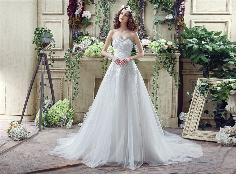 A Line Wedding Dress: Elegant Cheap In Stock A Line Sweetheart Wedding Dress