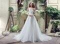 Elegante Barato Em Estoque A linha do Querido Do Vestido de Casamento Do Laço Do Vintage Longo Trem Tribunal Vestidos de Noiva