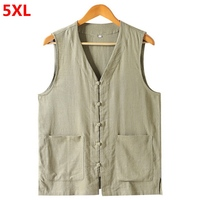 Large size solid color retro national style shirt loose Chinese button horse men 5XL 4XL 3XL Casual shirt sleeveless