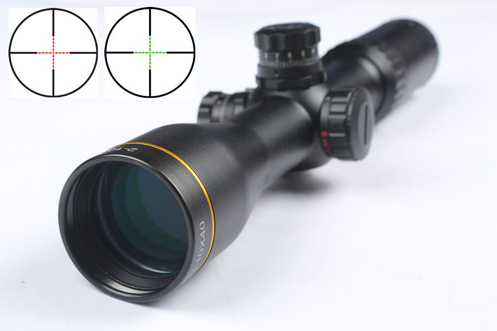 Tactical Rifle scope 2-10x40 Red Green Illuminated Reticle Mil-dot Scope Optical Sight Rifle Airsoft For Hunting Rifles Airgun very100 new tactical reflex 3 10x 40 red green dot reticle sight rifle scope