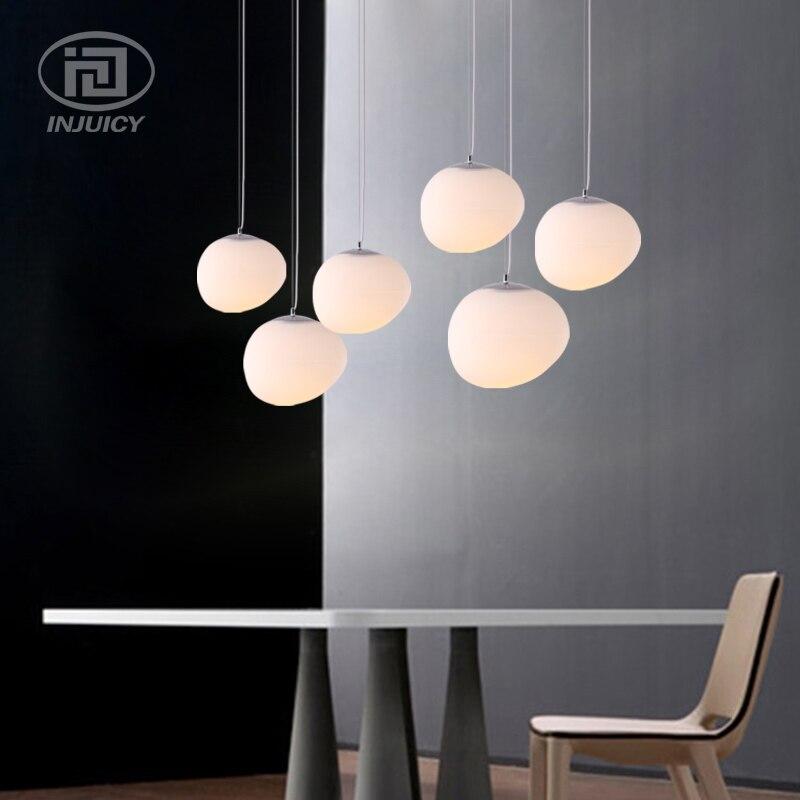 Simple Designer Alien LED Pendant Lamp White Stone Glass Single Head Egg Shaped Glass Modern Pendant Lighting For Bedroom
