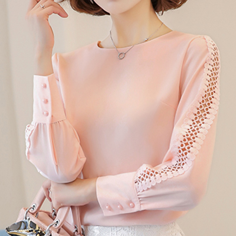 Vogorsean New Women Blouses Shirt Hollow Out Lace Blouse Tops For Shirt Geometry Casual For Work Blusas White Pink 9/10 Sleeve