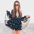 Venda quente da estrela impresso fluindo chiffon mini vestido V profundo neck lanterna manga cintura trecho vestido de moda praia vestido de verão