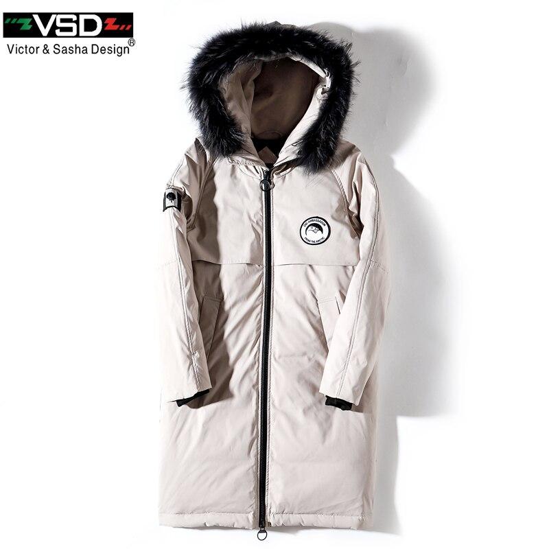 VSD зимняя куртка на утином пуху больше натуральным мехом пальто Мужская мода Канада Стиль одежда высокого качества повседневные куртки пар...