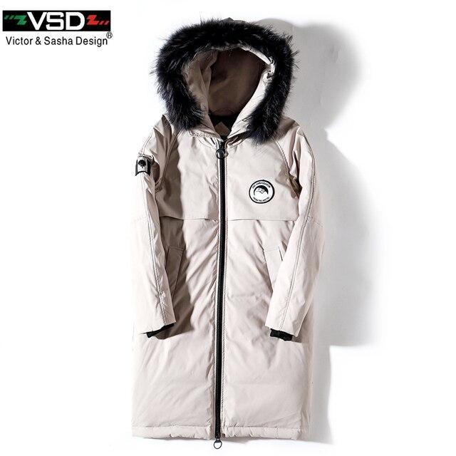 VSD зимняя куртка на утином пуху больше натуральным мехом пальто Мужская мода Канада Стиль одежда высокого качества повседневные куртки парки VS8806