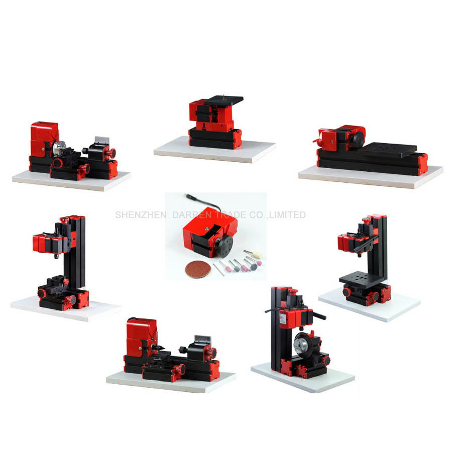 8 in 1 Mini Lathe Machine 20000r/min 110V 240V saw Workbench area 90*90mm Mini Combined Machine Tool plastic plate