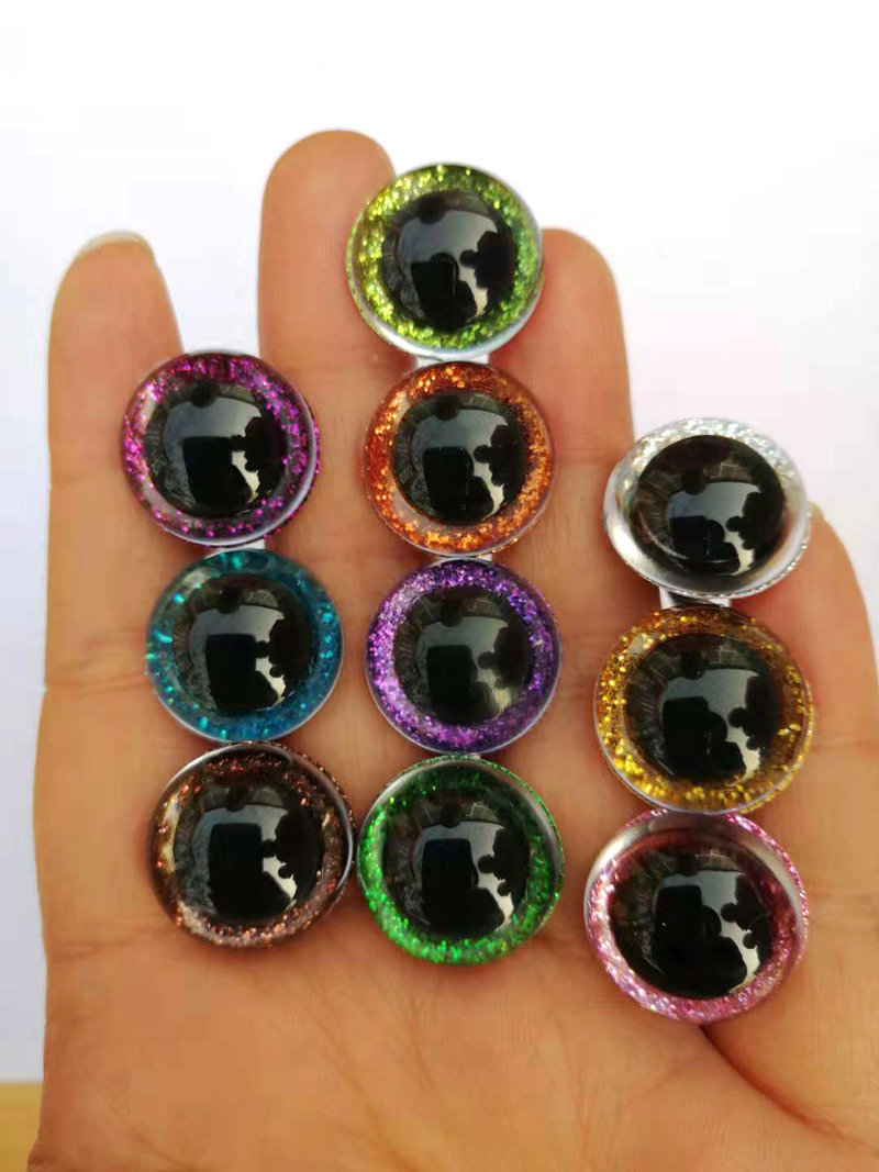 20pcs/lot 10color 9-24mm tiny round plastic clear toy safety eyes + glitter Nonwovens + white hard washer