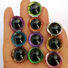 20pcs/lot 10color 9-24mm tiny round plastic clear toy safety eyes + glitter Nonw