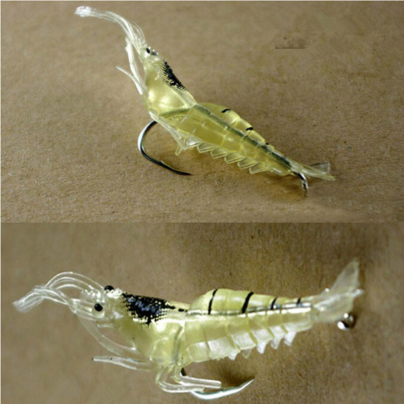 10 Pcs/Lot 5cm 2g Fishing Lures With Sharp Hook Isca Artificial Vivid Shrimp Prawn Soft Bait Lightweight Carp Fishing Lure