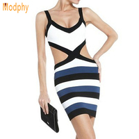 2013 New Fashion Sexy Hollow Out Waist Back Dress Bandage Mini Women Elastic Striped Bodycon Evening