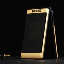 Двойной экран флип-телефон TKEXUN G300 2,6 дюймов MP3 MP4 один клавишный циферблат телефон большая русская клавиатура старый человек Мобильный телефон PK X9 X6