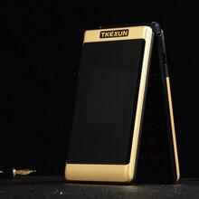 デュアルスクリーンフリップ電話 TKEXUN G300 2.6 インチ MP3 MP4 1 キーダイヤル telefone ビッグロシアキーボード老人携帯携帯電話 PK X9 X6