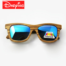 New Fashion Men's Polarized Sun Glasses Bamboo Zebrawood Brand Design With Reflective Mirror Tint gafas de sol LUB118