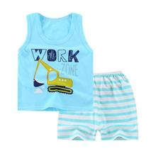 Summer Baby Boy Clothes Toddler Boys Cartoon Vest+shorts 2pcs Suits New Children Print Clothing Sets Kids Cotton Cute Sets 2pcs new children s leisure clothing sets kids baby boy suit vest gentleman clothes for weddings formal clothing toddler boys