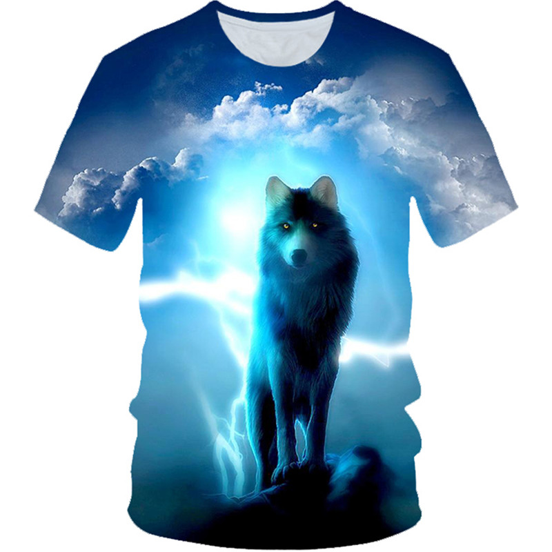 T-Shirt Kids Tops Animal-Wolf Printed Funny Cloud-Moon Children Summer 3D 4-20-Years-Old
