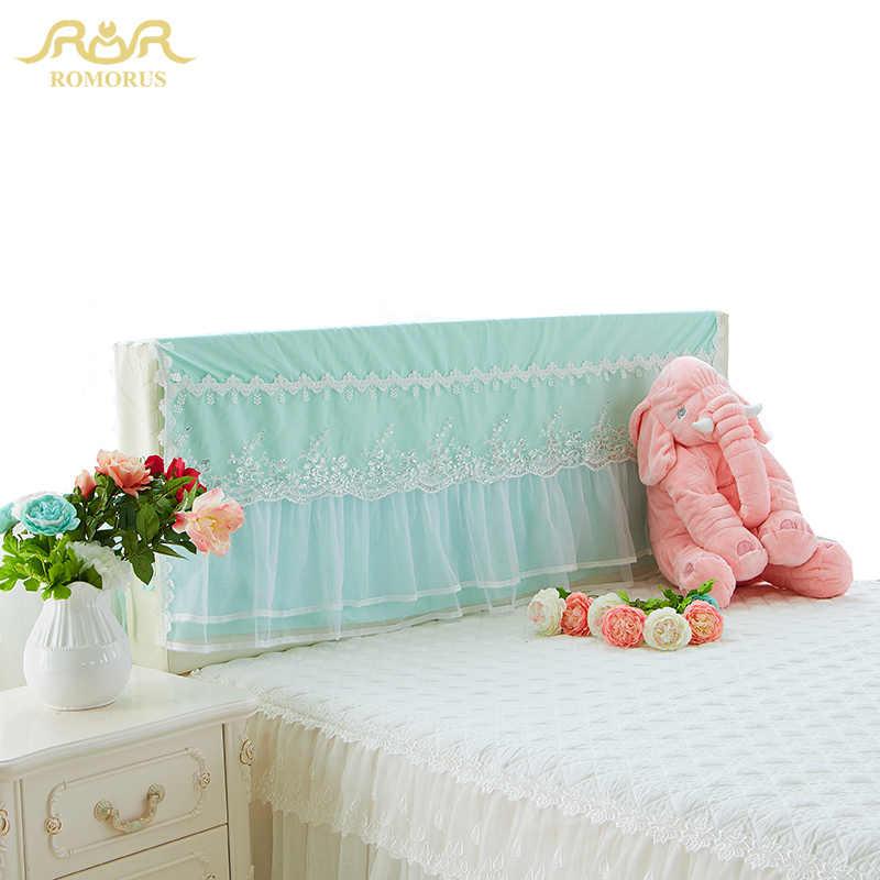 ROMORUS красивые кружево розовый кровать изголовье подушки защита от пыли Фиолетовый Белый Принцесса декоративное покрытие для 1,2 м/1,5 м/1,8 м кровать