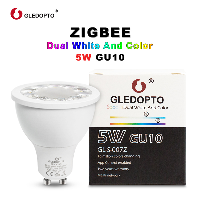 GLEDOPTO SOPOSH Rgb And Dual White 5W GU10 Bulb RGBW/CW 2700-6500K LED Spotlight AC100-240V Zigbee Zll  Work With Alexa Puls Led