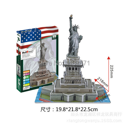 Paper Model Diy Statue of Liberty Enlighten Blocks Construction Brick Block Toys scale models Sets brinquedos playmobil