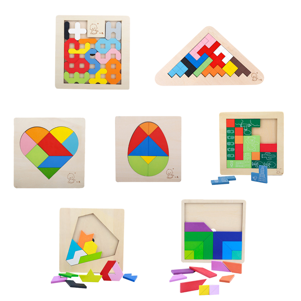 Children Wooden 3D Jigsaw Puzzles Toy Tangram Brain Teaser Puzzle Toys Tetris Game Educational Kid Jigsaw Board Toy Gifts 1 pc color random new baby kid cartoon animals fruits dimensional puzzles toy jigsaw puzzles educational toy for children gift