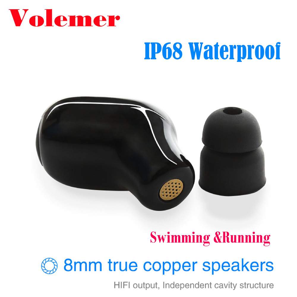 Volemer IP68 IPX8 waterproof Swimming Wireless Earphone with Mic Sport Running Musci Stereo Diving Earbuds Bluetooth headset