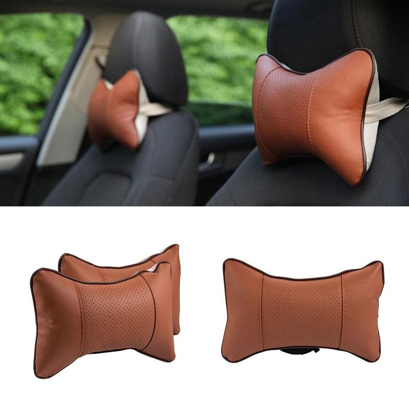 Auto Car Neck Pillow Memory Foam Pillows PU Leather Neck Rest Seat Headrest Cushion Soft Pad 4 Colors Support High Quality