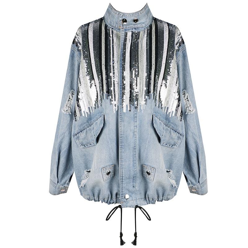 Twotwinstyle Col Streetwear Vêtements Patchwork Pour Veste Stand Paillettes Denim Femelle Manteau De Trou Tirage Blue Jacket Automne 2018 Chaîne Femmes rwBrgx