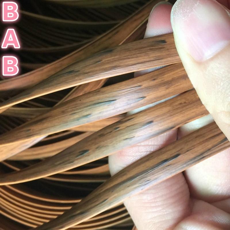 Wood Grain Color/brown Printing Gradient  Flat Synthetic PE Rattan Weaving Material Plastic Rattan For Knit And Repair Chair Ect