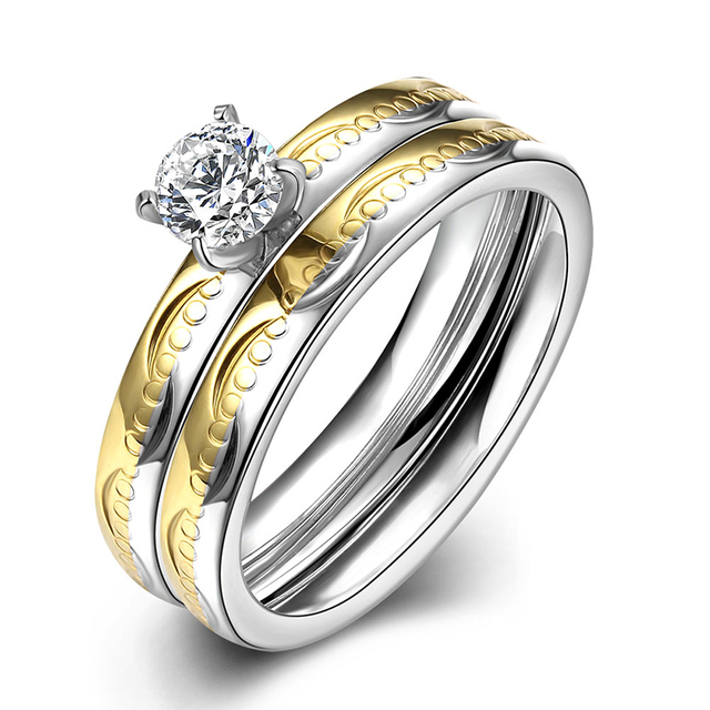 Fashion Anium Steel Rings For Woman Double Gold Color Rhinestones Bridal Wedding Band Engagement Ring Sets