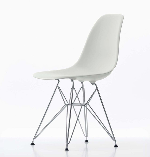 4 pieces for lot Dining Side Chairs PP Plastic Seat Steel Legs Color White