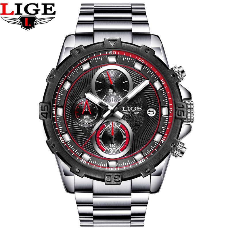 LIGE Watches Men Fashion Brand Multifunction Chronograph Quartz Watch Man Military Sport Wristwatch Male Clock Relogio Masculino 36531 rac u02 36531racu02 o2 sensor oxygen sensor lambda sensor