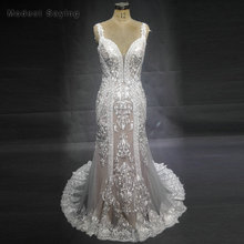 New Fashion Luxury Mermaid Embroideried Lace Wedding Dresses 2018 with Sweetheart Sexy Backless Bridal Gowns with Nude Lining