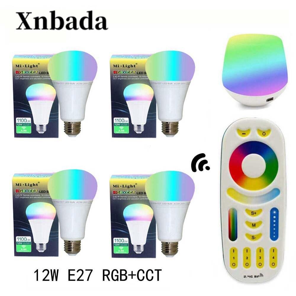 MiLight 12 W lampe à Led E27 RGB + CCT Led ampoule + RGBWW télécommande + IBX1 RF wifi Led à distance spot éclairage Led AC85-265V livraison gratuite
