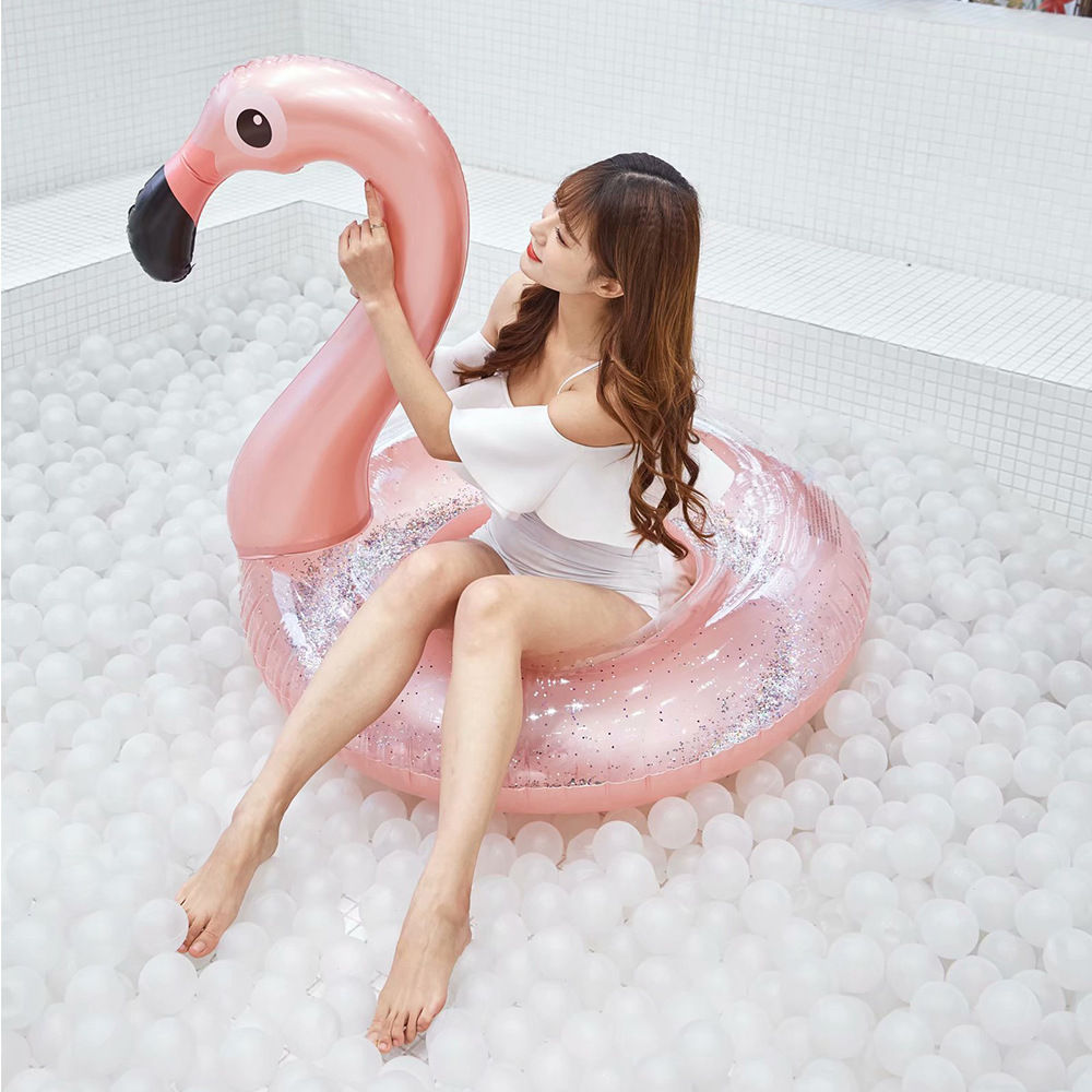 Water Products Network Red PVC Swimming Ring Adult Inflatable Flamingo Swimming Ring Piscina Pool Float