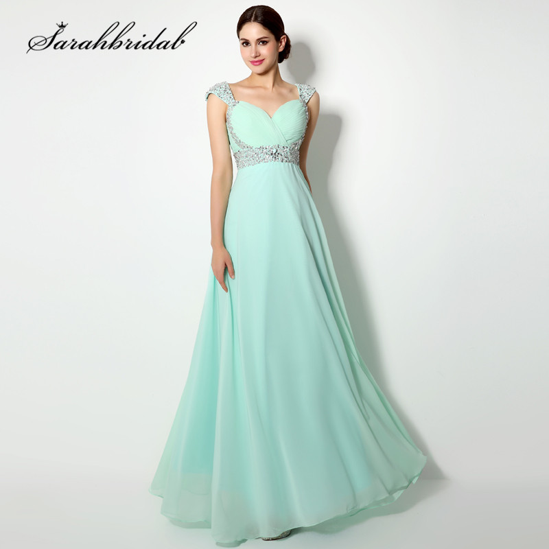 Charming Prom Dresses Long Sweetheart Crystal Beaded Backless Floor Length Chiffon Sequins Lace Up Party Evening Gowns SD179