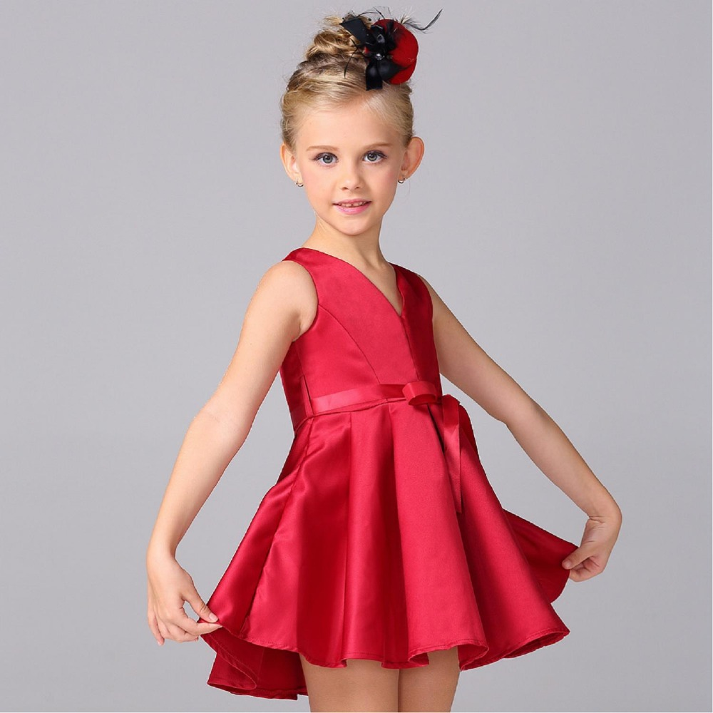 2017 Fashion Red Satin Flower Girl Dress Princess Tutu