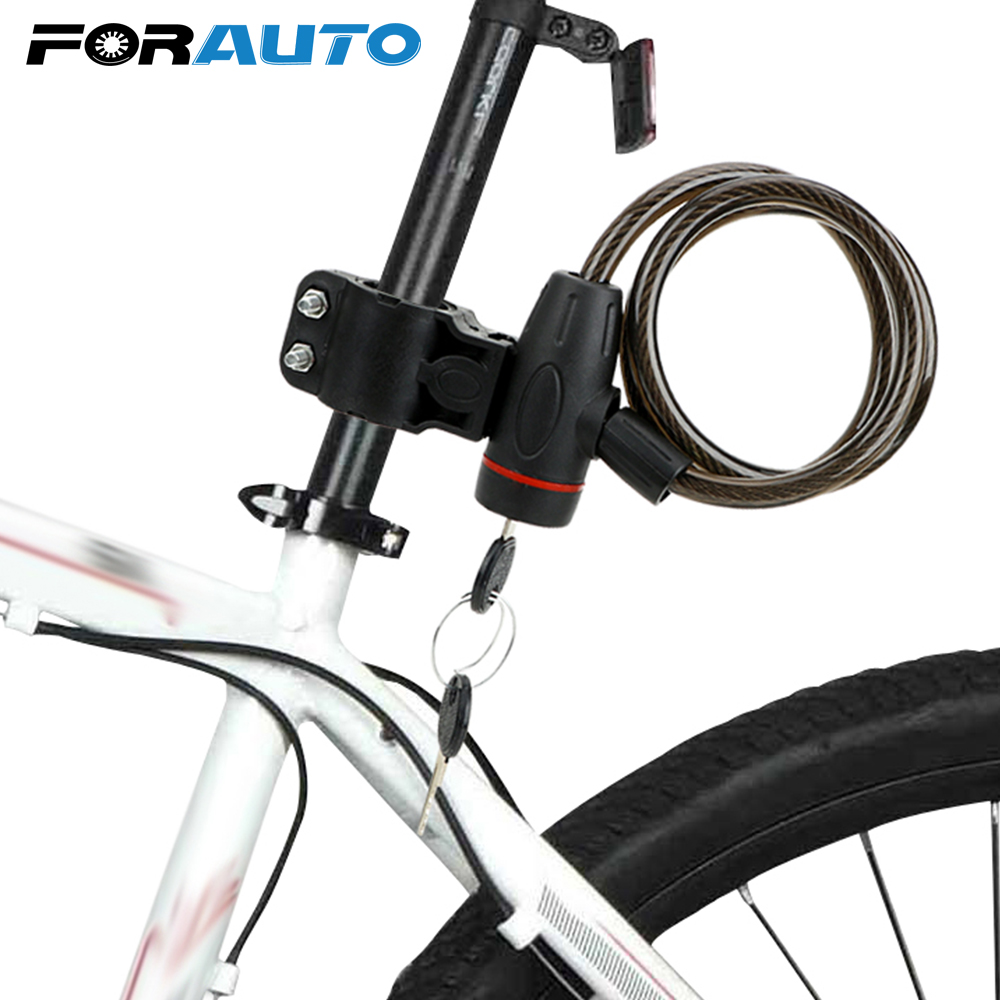 FORAUTO Security Lock With 2 Keys Anti-theft Stainless Steel Cable Coil Motorcycle Lock Universal Moto Accessories