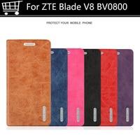 5.2 pouce pour zte blade v8 v 8 bv0800 retour protection case flip case en cuir de couverture arrière de silicium souple tpu cas pour zte BladeV8