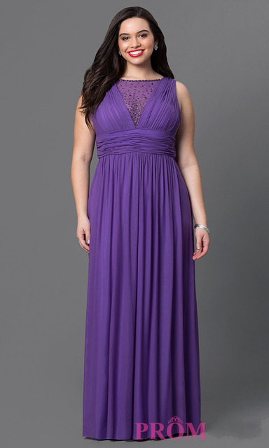 Robe De Soiree Longue Plus Size Evening Dresses 2016 Long Formal Dress  Beaded Purple Chiffon Party Speicial Occasion Dress dac33b4829d6