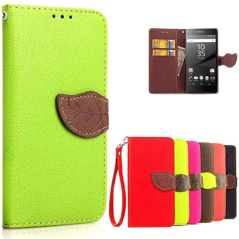 Litchi leather case para sony xperia z5 compact/z5 mini candy color hoja correa
