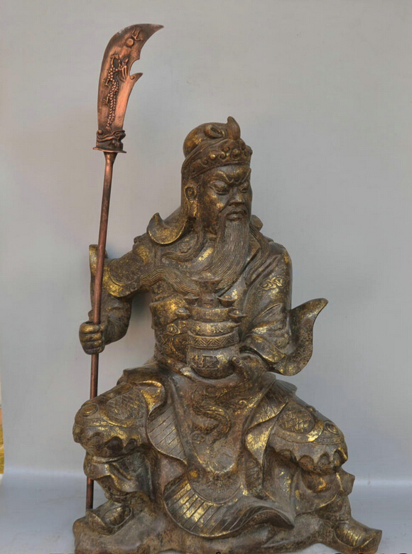 006850 23 China Buddhism Bronze Guan Yu Holding Broadsword Buddha Sculpture Statue