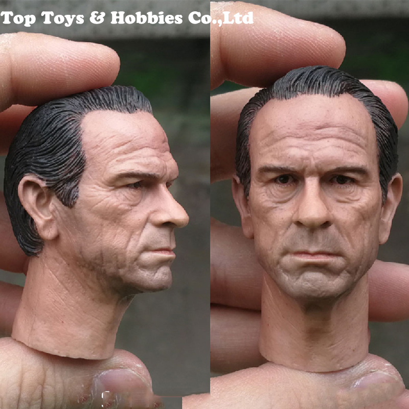1/6 Scale Tommy Lee Jones Black Super Special Police Head Sculpt Carved Model For 12'' Male Action Figure Body Accessory