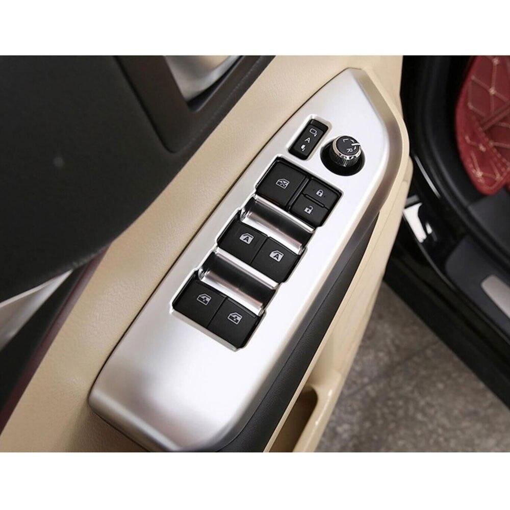4Pcs ABS Car Interior Door Armrest Window Switch Button Panel Bezel Decorative Cover Trim For Toyota Highlander 2015 car-stlying