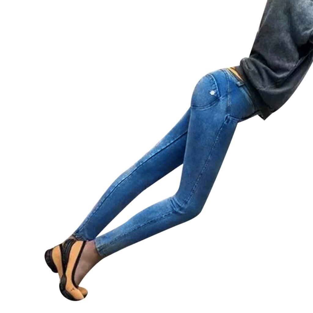 Denim Elástica Mujeres Moda gris De Venta caliente Puro Negro Lápiz Cintura Jeans Alta azul Alta La Color 2019 Tendencia Largos Pantalones Fuerza WqZF1BFz